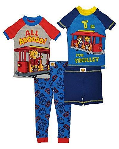 Daniel Tiger Toddler Boys' All Aboard 4 Piece Cotton Pajama Set, Grey, 4T (Apparel Tigers Toddler)