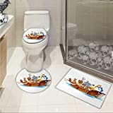 Carl Morris Ark bath toilet mat set Illustration of Many Animals Sailing in the Boat Mythical Journey Faith Giraffe Custom made Rug Set Multicolor