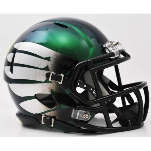 oregon-ducks-titanium-thunder-green-with-matte-finish-silver-wings-riddell-speed-mini-football-helme