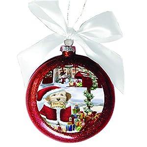 Tibetan Terrier Dog Dear Santa Letter Christmas Holiday Mailbox Red Round Ball Christmas Ornament RBSOR49089 4