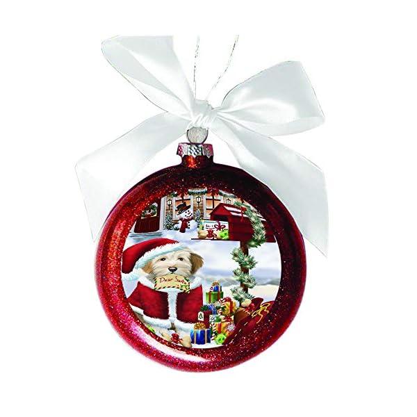 Tibetan Terrier Dog Dear Santa Letter Christmas Holiday Mailbox Red Round Ball Christmas Ornament RBSOR49089 1