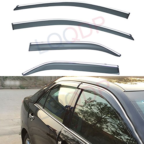 LQQDP 4pcs Smoke Tint With Chrome Trim Outside Mount Tape On/Clip On Style PVC Sun Rain Guard Vent Shade Window Visors Fit 12-17 Toyota Camry