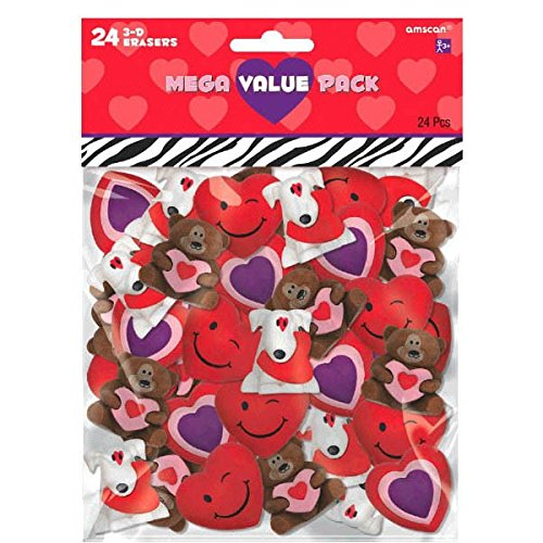 Smile Face Heart Erasers (Amscan Valentine's Day 3-D Eraser Party Favor & Giveaway (24 Piece), Multicolor, 6 1/4