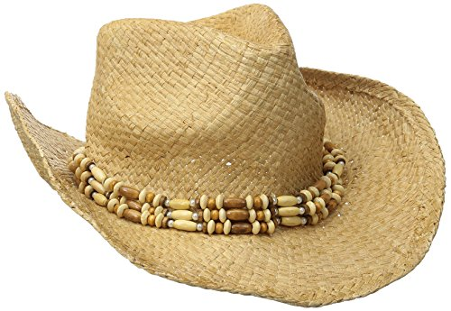 San Diego Hat Company Women's Raffia Cowboy Hat with Beaded Band, Natural, One Size (Beaded Raffia)