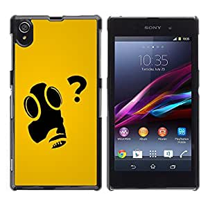 Impact Case Cover with Art Pattern Designs FOR Sony Xperia Z1 L39 cool funny art gas mask question why Betty shop