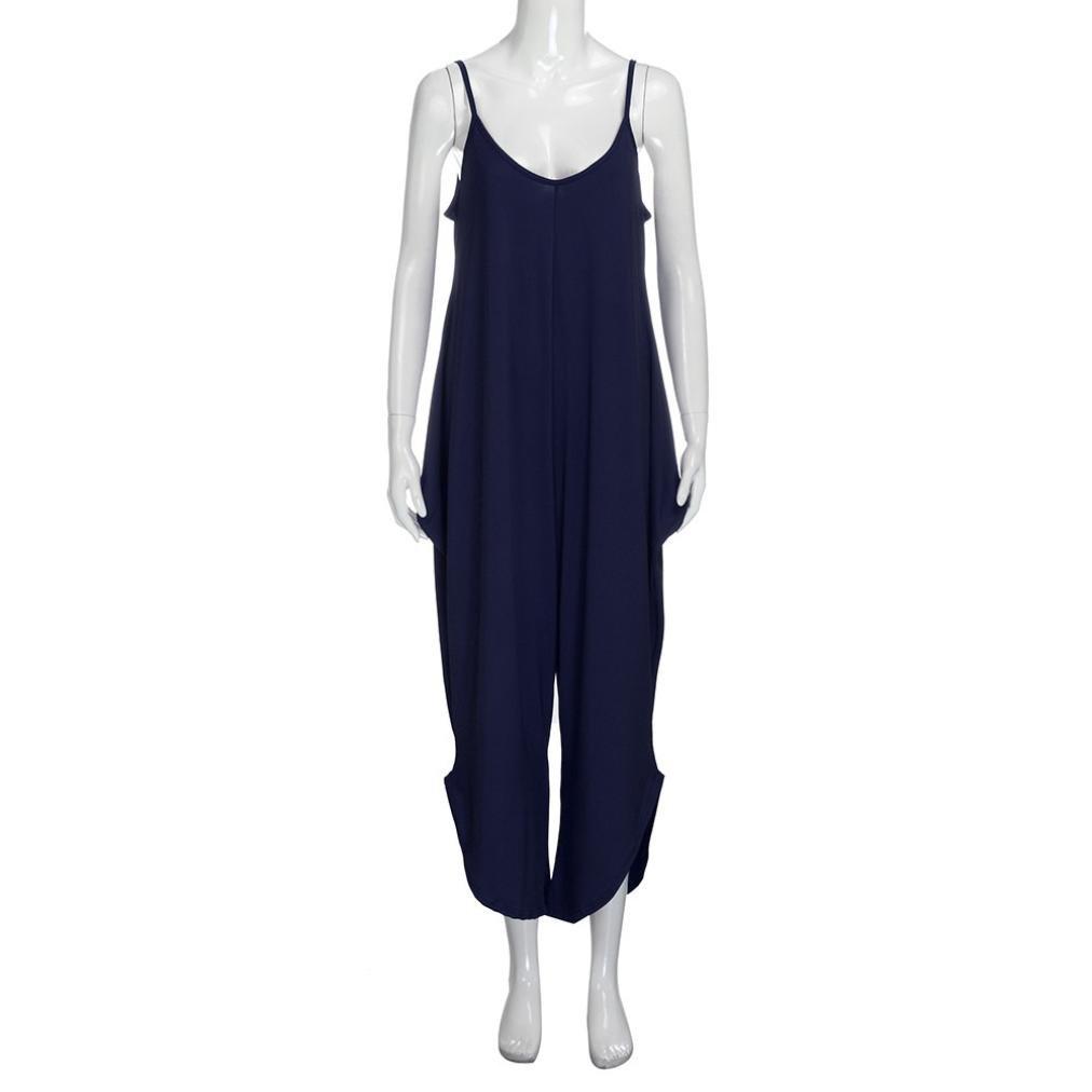 HARRYSTORE Women New Ladies Striped Cami Lagenlook Romper Loose Baggy Harem Jumpsuit Playsuit Dress Plus Size