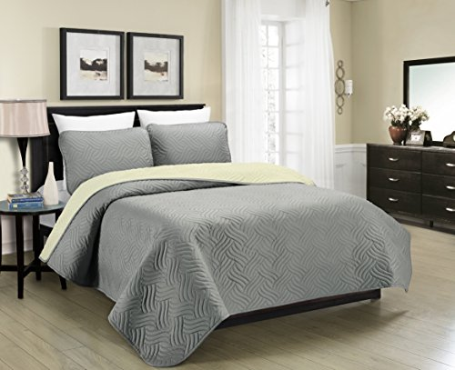 Blissful Living Reversible Luxury Pinsonic Solid Quilt Set Including Shams – Lightweight and Soft for All Year Round Comfort, Available in Twin, Full/Queen and King Size (Grey/Cream, Full/Queen) (Luxury Comforter Set Reversible)