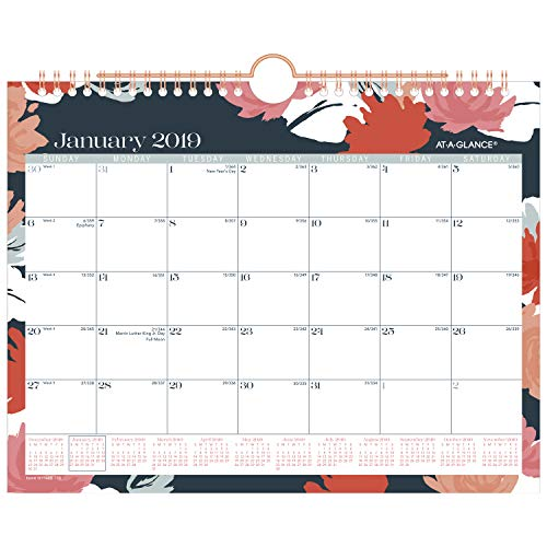 AT-A-GLANCE 2019 Monthly Wall Calendar, 11 x 8-1/2, Small, Wirebound, Badge Floral (W1148B-709)