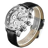 Derieter Sports Men Multifunction Watch Swiss ISA Movement Wristwatch Stainless Steel Wrist Watch Waterproof Genuine Leather Strap Week Month Date and 24 Hours (White Dial)