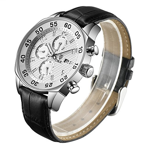 Derieter Sports Men Multifunction Watch Swiss ISA Movement Wristwatch Stainless Steel Wrist Watch Waterproof Genuine Leather Strap Week Month Date and 24 Hours (White Dial) (Swiss Watch Movement)