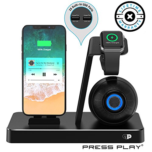 Press Play ONE Dock Beat [Apple Certified] Power Station + Wireless Speaker Dock, Stand & Charger Apple Watch (Series 1,2,3,4 Nike+), iPhone & iPod w/Original Lightning Connector Built-in