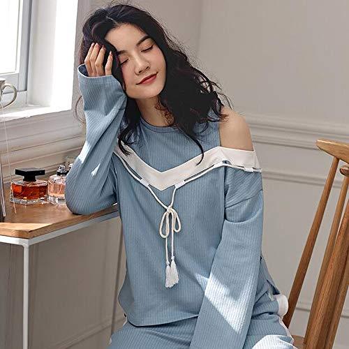 Camicie Pigiameria Donna Pigiama Notte Girocollo Pezzi Lunghe Da Primavera Da Da Pigiami Notte Due Donna GZZ Blu Cotone Dolce Maniche XL Autunno tzpEqwz