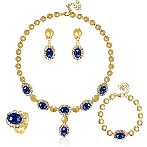 MOOCHI 18K Gold Plated Blue Beads Necklace Earrings Jewelry Set