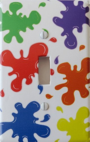 Multicolored Paint Splatter Light Switch Plates / Paintball Switch Plates