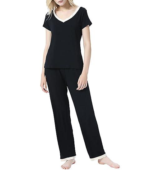 CLOCOLOR Pijama de 2 Piezas Manga Corta Cuello para Mujer Casual Conjunto de Ropa de Dormir