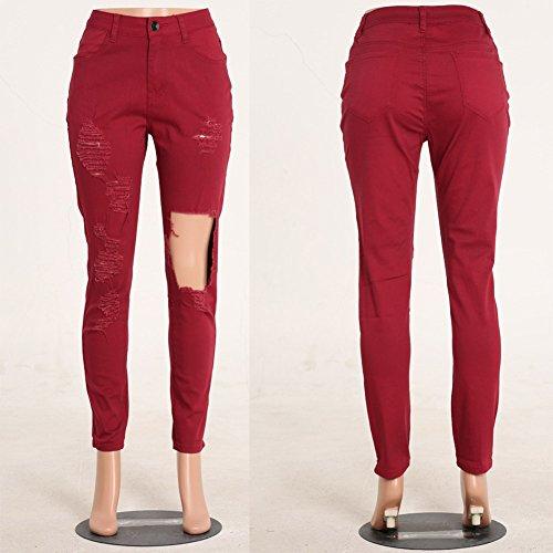 Distressed Pantaloni Skinny Rosso Jeans Vino Denim Casuale Donna ZWqzUn