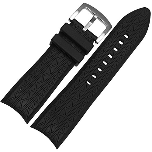 (24mm Black Silicone Rubber watch Strap watch Band)