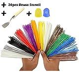 3D Pen Filament Refills- Bonus 20 Reuse & 120 Ebook Stencil- 2 Glow In The ...