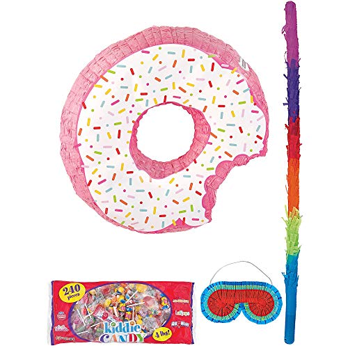 Party City Donut Pinata Supplies, Include a Pinata, a Colorful Pinata Stick, a Blindfold, and 4 Pounds of Candy -