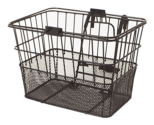 Retrospec Bicycles Detachable Steel Half-Mesh Apollo Bike Basket with Handles, Black (Rear Wicker Bike Basket Mounted)