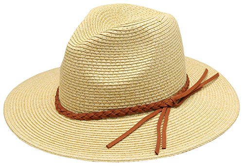 Women's Braid Straw Wide Brim Classic Fedora Sun Hat UPF 50+ with Adjustable Drawstring (F2246, Natural)