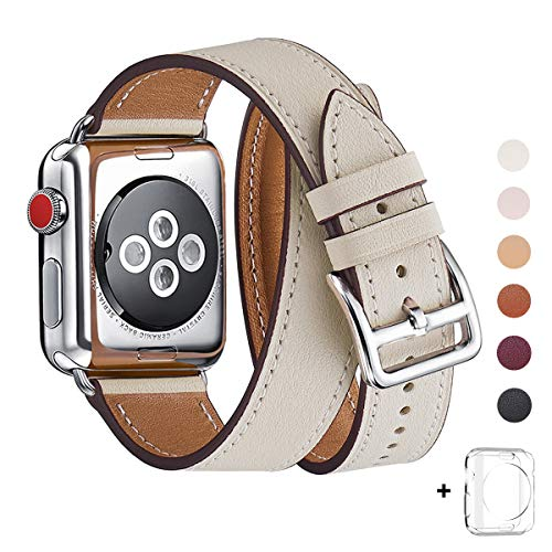WFEAGL Compatible iWatch Band 38mm 40mm 42mm 44mm, Top Grain Leather Double Tour Band for iWatch Series 4,Series 3,Series 2,Series 1,Sport, Edition (IvoryWhite+Silver, 38mm 40mm)