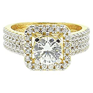 SMS Jewelry Women's 18K Gold Cubic Zirconia Solitaire Ring - Free Size