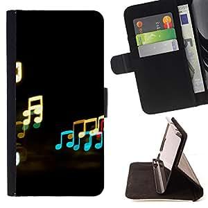 BullDog Case - FOR/Samsung Galaxy Note 4 IV / - / Music Neon Notes /- Monedero de cuero de la PU Llevar cubierta de la caja con el ID Credit Card Slots Flip funda de cuer