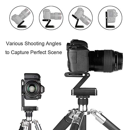 Foto&Tech Z Flex Tilt Ball Head Aluminum Alloy Z Folding QR Plate Bracket Stand Holder with Bubble Level Compatible with Canon Nikon Sony Pentax Camera Camcorder Slide Rail Tripod Slider