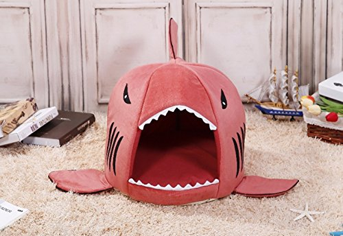 COCOPET Shark Bed for Small Cat Dog Cave Cozy Bed Removable Cushion,waterproof Bottom Pink (Medium, Red)