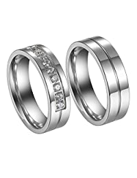 Flongo His Hers Men Women Romantic Stainless Steel Couples Engagement Promise Wedding Eternity Band Ring