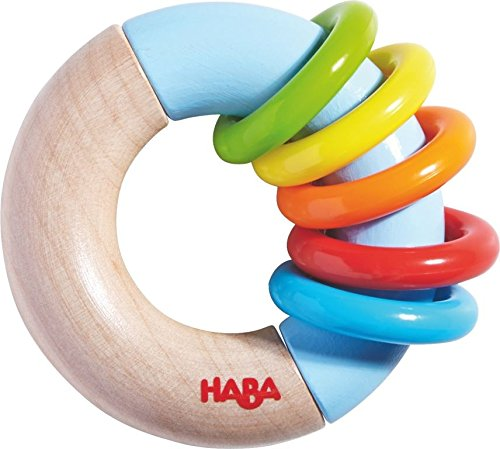 HABA Ring Around Wooden Clutching Toy, Rattle and Teether with Five Moving Rings (Made in Germany)