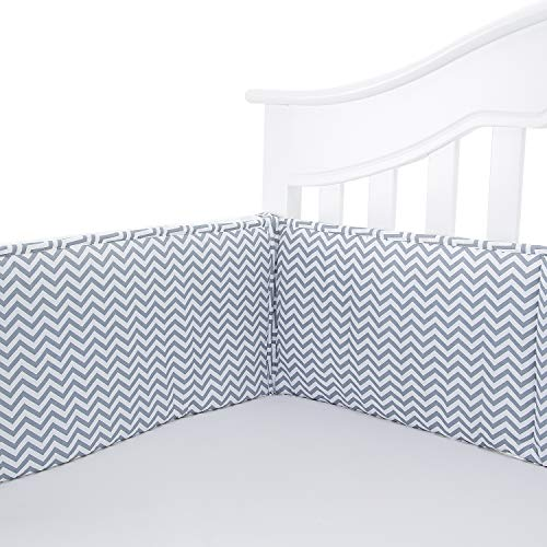 TILLYOU Cotton Collection Baby Safe Crib Bumper Pads for Standard Cribs Machine Washable Padded Crib Liner Thick Padding for Nursery Bed Safe Crib Guards Protector de Cuna, 4 Piece, Gray Chevron ()