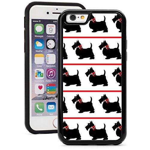Apple iPhone 6 6s Shockproof Impact Hard Soft Case Cover Black Scottie Scottish Terrier Dogs with Red Bows (Black)