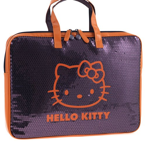 Hello Kitty Purple & Orange Sequinned Covered Padded Netbook/Laptop Sleeve (Kitty Netbook Hello Bag)
