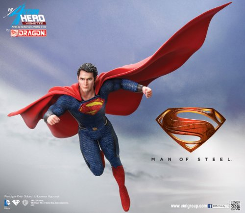 Dragon Models Man of Steel: Superman Action Hero Vignette Action Figure Bust, 1:9 Scale