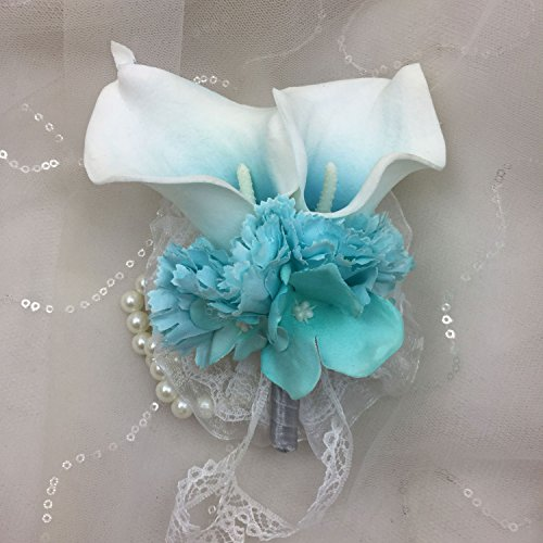 Lily Garden Wrist Corsage Double Real Touch Calla Lily with Silk Hydrangea and Carnation (Turquoise Center T)