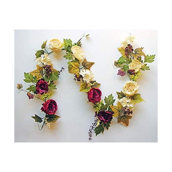 ES ESSENTIALS 72″ (6′) Cabbage Rose and Hydrangea Berry Garland (Burgundy/Cream)