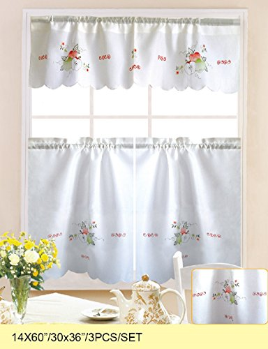 WPM 3 Piece Kitchen/cafe Curtain Tier and Swag Set White App