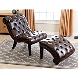 Abbyson Living Theodore Leather Chaise Lounge with Ottoman in Brown