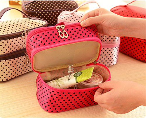 Fashion Double layer small dots cosmetic bag makeup tool storage bag multifunctional Storage package free shipping S385 Color Red (Nike Air Jordan Storage Box)