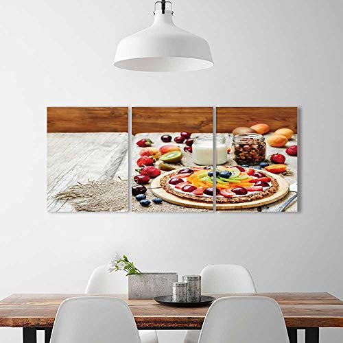 (PRUNUS 3 Panel Wall Art Set Frameless Greek Yogurt Granola Fruit Breakfast Pizza Toning Selective Focus The Kitchen, Dining Room, Living Room, Bar so on)
