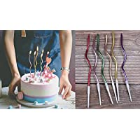 Twisty Birthday Candles Set,Metallic Colorful Curly Coil Candles,Creative Fun Long Thin Wedding Birthday Candles Set,Party Supplies,Cake Decoration,6 Pack