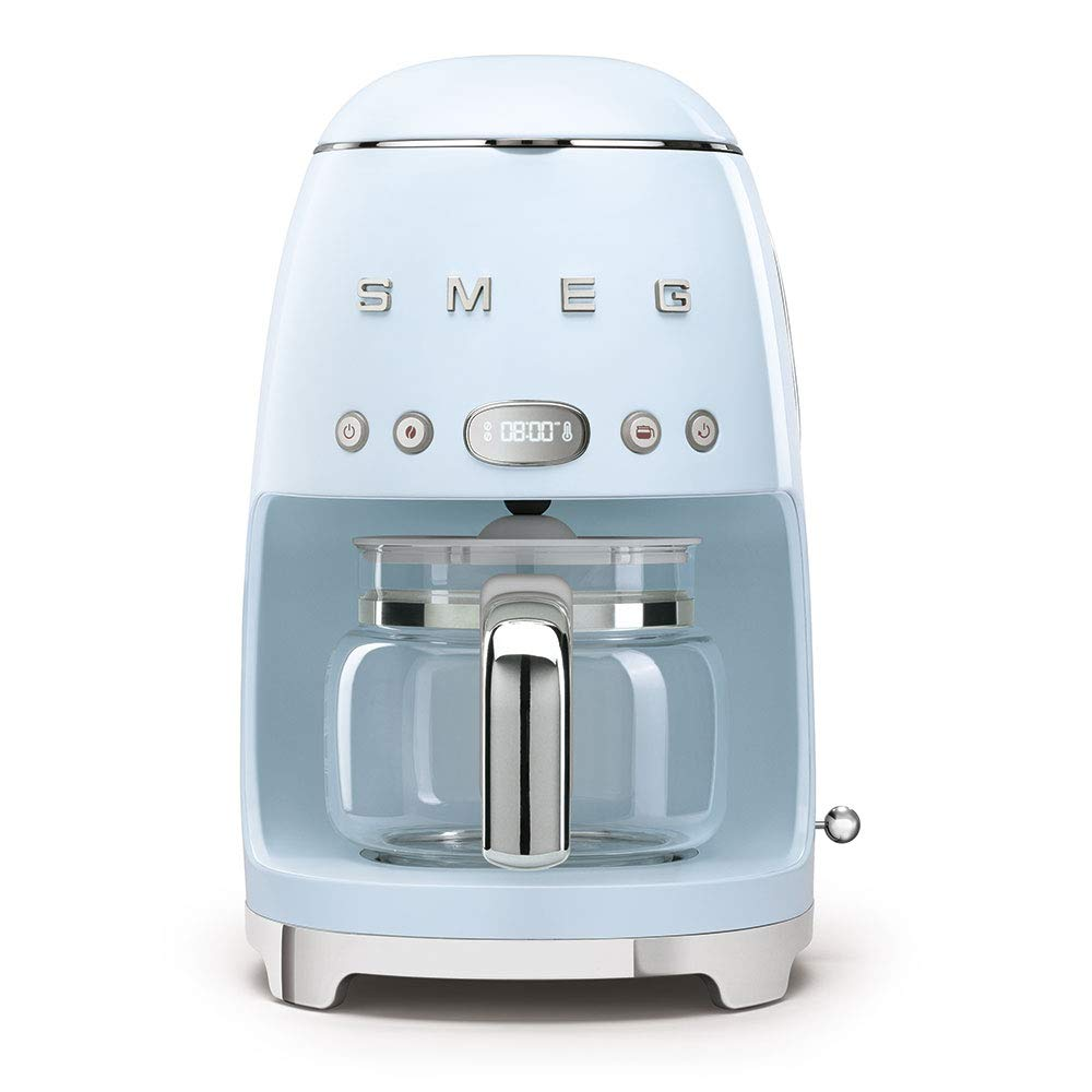 Smeg 50's Retro Style Aesthetic Drip Filter Coffee Machine, 10 cups, Pastel Blue