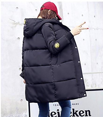 de Mujeres Abrigo invierno de algodón Negro chaqueta Parka acolchado larga COMVIP Capucha SEW8Tdwqq
