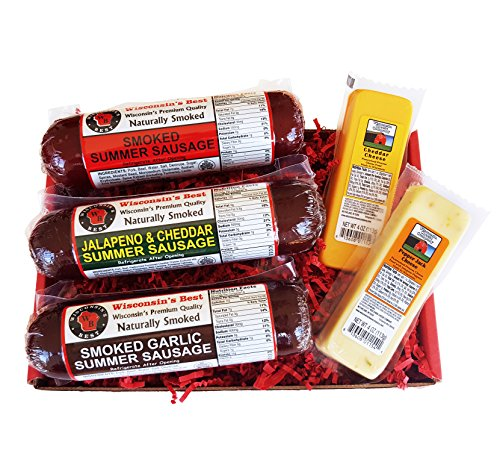 Gourmet Variety Sampler Gift Basket - Smoked Summer Sausages & 100% Wisconsin Cheeses - GLUTEN-FREE - Perfect Cheese and Sausage Snack!!