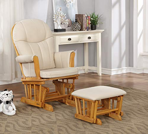 Adult Ottoman Rocker Glider - Lennox Furniture Dallas Glider Chair and Ottoman Combo, Honey with Wheat