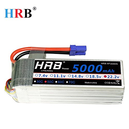 HRB 6S 5000mAh 22.2v 50C-100C RC Lipo Battery With EC5 Plug For DJI Airplane RC Quadcopter Helicopter Car Truck Boat Hobby by HRB