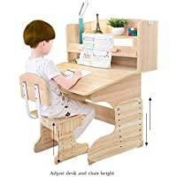 DL furniture Wood Study Desk For Children Kid Desk Table Chair - Easy Assemble | Flip Drawer | Adjustable Height Desk & Chair | Desktop Rack Shelves - Natural Wood