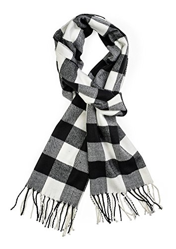 Plum Feathers Super Soft Luxurious Cashmere Feel Winter Scarf (Black-White Buffalo Check)